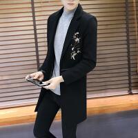 男士毛呢大衣2017新款秋冬季潮流帅气中长款风衣修身刺绣呢子外套