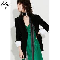 【2件4折到手价:391.6元】 Lily秋新款女装袖口可拆卸缎面拼接收腰修身西装119330C2203
