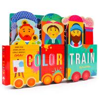 颜色学习小火车造型书 Color Train 英文原版绘本 纸板书 儿童玩具书 少儿英语启蒙 3-6岁儿童认知识物