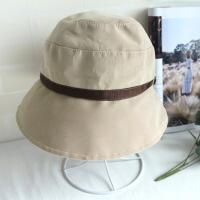 渔夫帽子女韩版百搭盆帽遮阳帽纯色礼帽防晒沙滩帽可折叠太阳帽 可调节