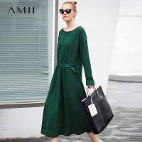 Amii韩版ins火连衣裙女冬季新款圆领收腰落肩袖宽松裙子.