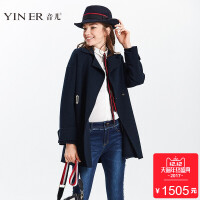 YINER音儿2017冬新款通勤气质纯羊毛双面呢大衣女外套8C57580800