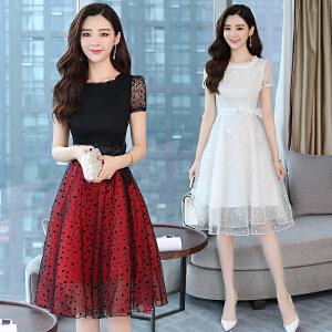 2018时尚长裙夏装新款中长款a字裙韩版收腰雪纺蕾丝连衣裙