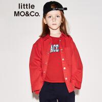 littlemoco纯色百搭帅气翻领四合扣长袖衬衫KA173SHT401