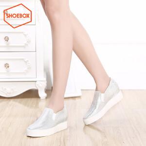 达芙妮旗下SHOEBOX/鞋柜个性拼色街头风乐福鞋厚底百搭休闲帆布