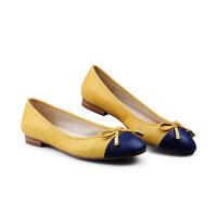 伊贝拉(YI-BELLA)新款单鞋 真皮浅口圆头蝴蝶结甜美芭蕾舞鞋低跟女鞋