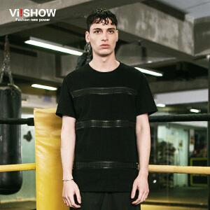 viishow夏装新款短袖T恤 欧美潮流拼接纯色短袖男 黑色圆领T