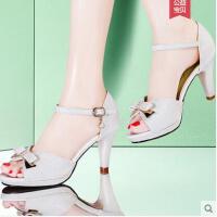 雅诗莱雅韩版新款细跟蝴蝶结女鞋一字扣带高跟鞋潮鱼嘴凉鞋女夏季YQ-3080-S