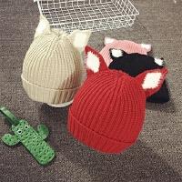 儿童帽子冬天加厚兔耳毛线帽男宝宝帽子女童针织帽韩版套头帽潮秋