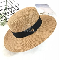 新款金丝平顶草帽女夏天英伦礼帽女士出游海边防晒遮阳帽沙滩帽子 M(56-58cm)