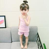 女童睡衣套装女宝宝小童婴儿1-2-3岁4夏公主吊带薄款纯棉可爱 粉红色 吊带家居服
