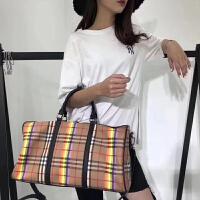 彩红格子手提女包2018新款潮大容量短途旅行包帆布百搭休闲单肩包 格子