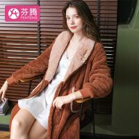 芬腾 睡袍女19年冬季新品绒质潮流字母图案口袋保暖长袖长款家居服睡裙女- 棕色