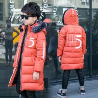 2017冬季新款童装男童长款棉衣韩版儿童毛领5字印花棉袄