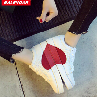 Galendar情侣爱心板鞋2018新款男女贝壳头平底休闲板鞋明星同款小白鞋SLM998