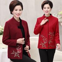 秋季中老年女装立领长袖绣花唐装外套女中国风妈妈装大码奶奶上衣
