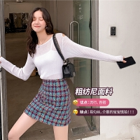 七格格a字短裙2020年新款女装春季时尚学生高腰包臀粗花呢格子裙