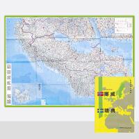 2020新版 世界分国地理图 挪威 瑞典地图 精装袋装 双面内容 加厚覆膜防水 折叠便携 约118*83cm 自然文化交