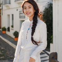 茵曼新款亚麻棉文艺绣花衬衣上衣女衬衫【1881011045】_珍珠白,XL