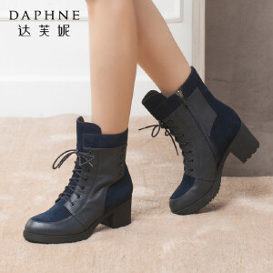 Daphne/达芙妮冬 牛皮粗跟铆钉系带侧拉链短筒女靴
