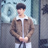冬季男士加厚羊羔毛青年韩版短款加绒棉衣外套男修身学生棉服上衣