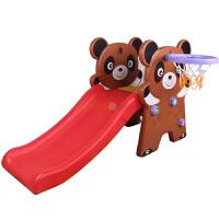 卡通熊猫加厚小滑梯篮球架 宝宝上下折叠塑料大滑滑爬梯礼物幼儿游乐园儿童房家用室内户外玩具
