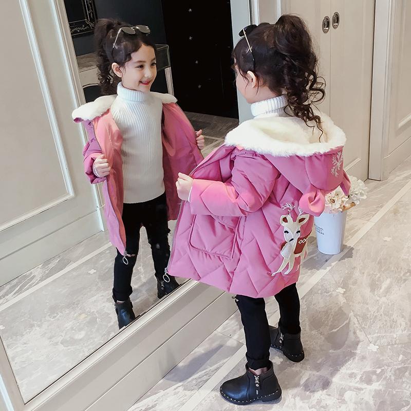 儿童冬季外套2018新款韩版中长款女孩棉袄