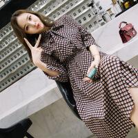 连衣裙雪纺格子松紧腰单件套头年春季中长款娃娃领衬衫袖蝴蝶结 格纹