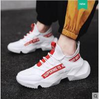 男鞋户外新品网红同款透气男潮鞋休闲白色增高网布运动网面老爹鞋