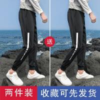 运动裤男学生韩版宽松百搭新款潮流休闲九分裤男士裤子哈伦裤 K808黑色+K808黑色 M