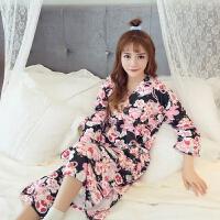 日本女纯棉日式和服睡衣冬长款睡袍睡裙樱花系带汗蒸家居服月子服 均码