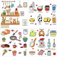 可移除墙贴创意卡通贴饰橱柜厨房冰箱餐厅贴纸贴画自粘瓷砖装饰品