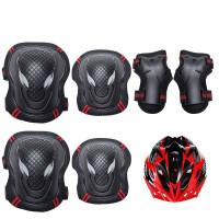 儿童自行车骑行装备护具套装 防护儿童自行车骑行装备护具套装女生旱冰护腕安全摔护甲滑板小孩HW 7件套