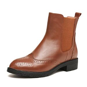富贵鸟新品布诺克雕花时尚女短靴