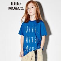 【折后价:95.6】littlemoco夏季新品男童T恤女童T恤全棉大字母印花圆领短袖T恤