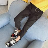 女童2018春装新款弹力运动休闲裤小女孩长裤子韩版做旧裤