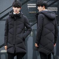 冬季新款中长款羽绒服男韩版修身连帽加厚外套青年潮流大衣男 黑色 M