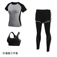 健身服女显瘦长袖瑜伽服三件套 晨跑运动套装女跑步健身房