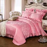 家纺欧式贡缎提花四件套 床上用品1.8/2.0双人被套床单婚庆床品