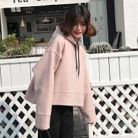 秋冬女装2017新款复古韩版chic宽松连帽毛呢卫衣外套学生短款上衣