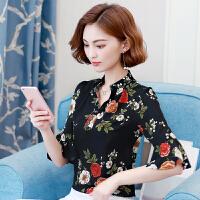 夏装女装短袖上衣30-40岁妈妈装时尚韩版宽松大码雪纺衫