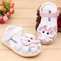 女宝宝学步鞋小童公主凉鞋1-2-3岁幼儿包头凉鞋软底防滑夏季童鞋