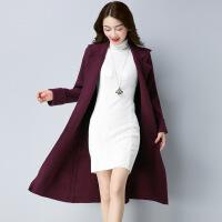 长款包芯纱女式针织外套 秋冬新品纯色韩版毛衣开衫