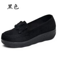 2018春季老北京布鞋豆豆女鞋棉鞋松糕厚底坡跟中跟浅口女工作单鞋