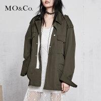 MOCO春季新品工装翻领口袋后摆开衩外套MA181JKT105 摩安珂