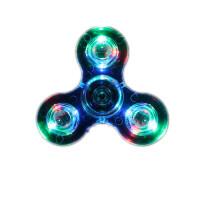 指尖陀螺手指螺旋儿童减压玩具发光带灯光夜荧光edc三叶旋转 水晶透明款 蓝色