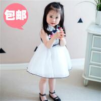 女童民族风裙子18夏季新款宝宝欧根纱水墨画旗袍蓬蓬裙舞蹈演出服