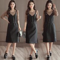 吊带小皮裙连衣裙两件套2018春季新款韩版pu皮背带裙时髦套装女