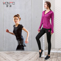 健身房瑜伽服运动套装女秋冬长袖连帽外套跑步衣文胸运动裤
