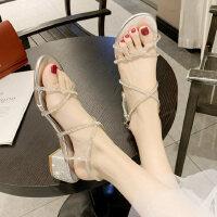 户外罗马中跟水钻女士凉鞋时尚粗跟晚晚鞋交叉绑带仙女风